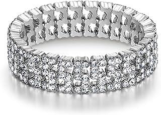 Flyonce Women's Rhinestone Crystal Wedding Bridal Art Deco Hollow Stretch Bracelet