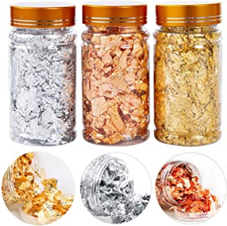 3 Bottles Gold Foil Flakes Gilding Flakes,3 Colors Metallic Foil Flakes and 1Tweezers for Nails,Resin Making Decoration,Pa...