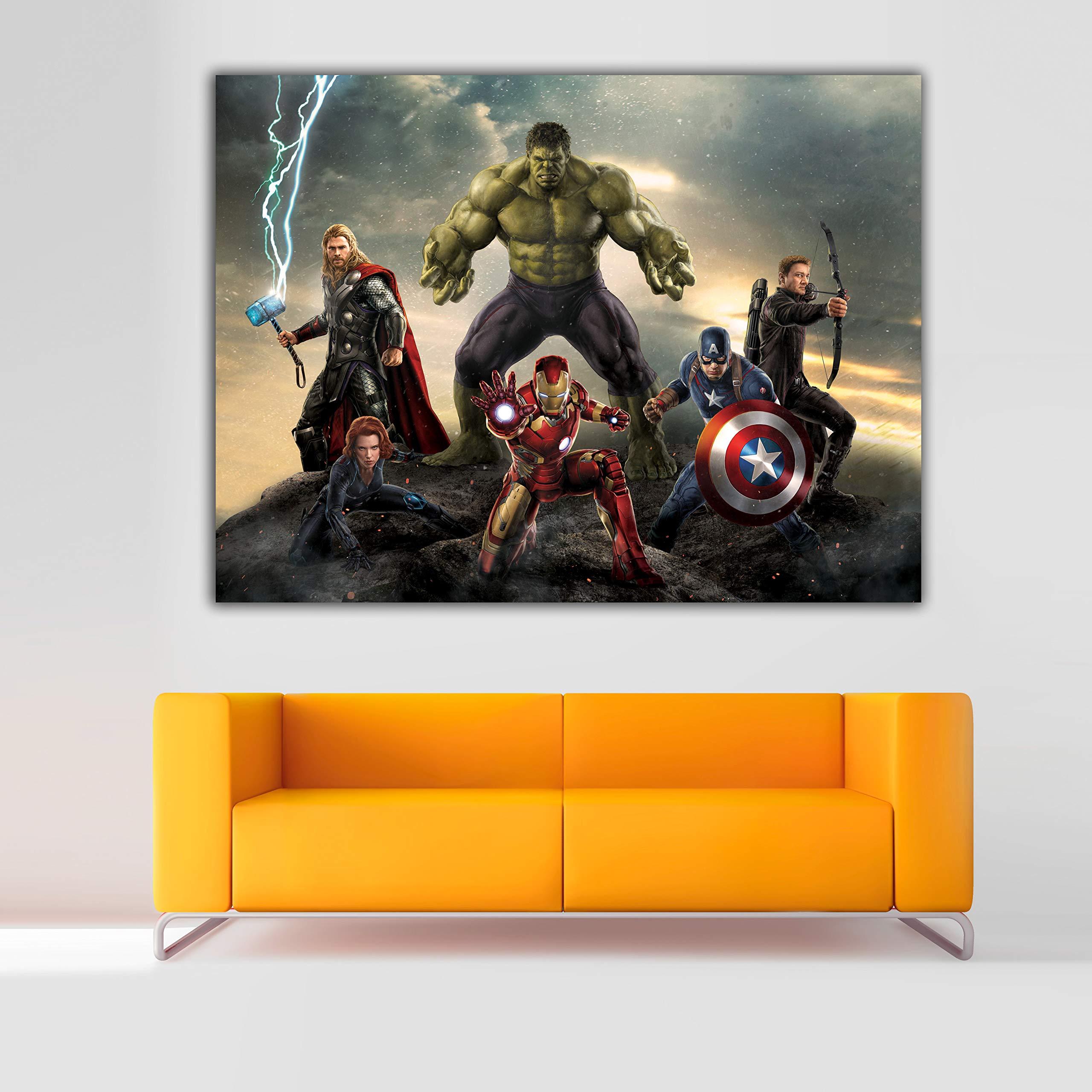 Cuadro Lienzo Superheroes Marvel Avengers Vengadores – 59x80 cm - Lienzo de Tela Bastidor de Madera de 3 cm - Fabricado en España - Impresión en Alta resolución: Amazon.es: Hogar