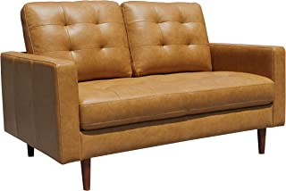 Rivet Cove Modern Tufted Loveseat with Tapered Legs, Mid-Century, 56