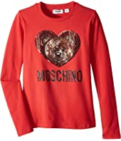 Moschino Kids - Long Sleeve Teddy Bear Heart Logo T-Shirt (Big Kids)