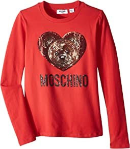 Long Sleeve Teddy Bear Heart Logo T-Shirt (Big Kids)