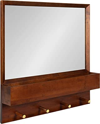 Kate and Laurel Hinter Mid-Century Framed Wall Mirror with Pocket Shelf, 24 x 24, Walnut Brown, Organizing Mail Holder and Wall Hooks
