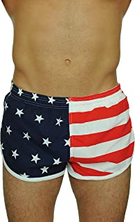 Men's American Flag and Nylon Swimwear Running Shorts