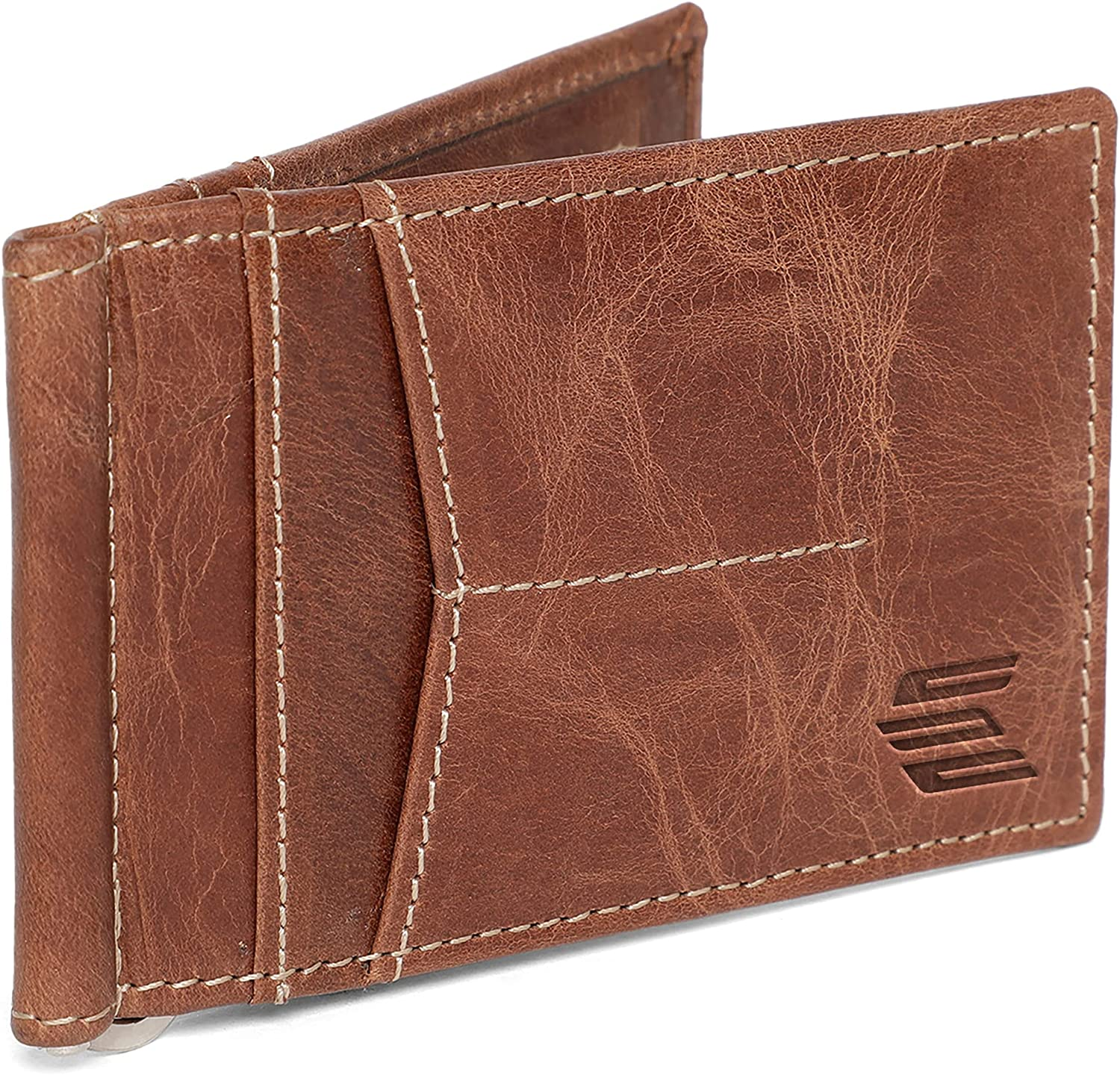 Elegante Pure Leather Wallet With Money Clip   Ultra Strong Stitching   Handcrafted Leather   RFID Blocking   Extra Capacity Bifold Wallet   Slim Billfold With 2 Card Slots,1 ID Window And 2 Front Pockets