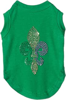 Mirage Pet Products Mardi Gras Fleur De Lis Rhinestone Dog Shirt, Small, Emerald Green