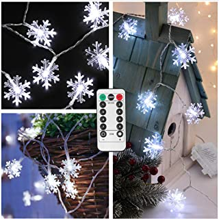 Christmas String Lights Outdoor,13ft 40 LED Xmas Snowflake Lights,8 Mode Memory Function,Remote Control,Timer,Battery Powered Winter Decorative Lights for Tree Bushes Path Porch Holiday Window-White