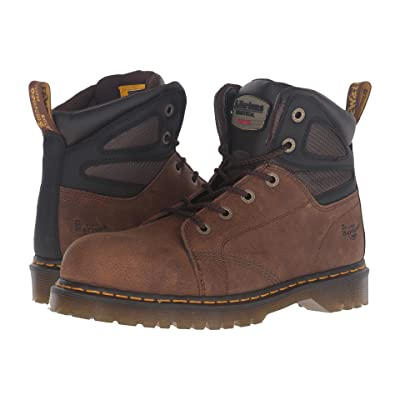 Dr. Martens Fairleigh Steel Toe 6-Eye Boot (Brown Overlord) Work Lace-up Boots