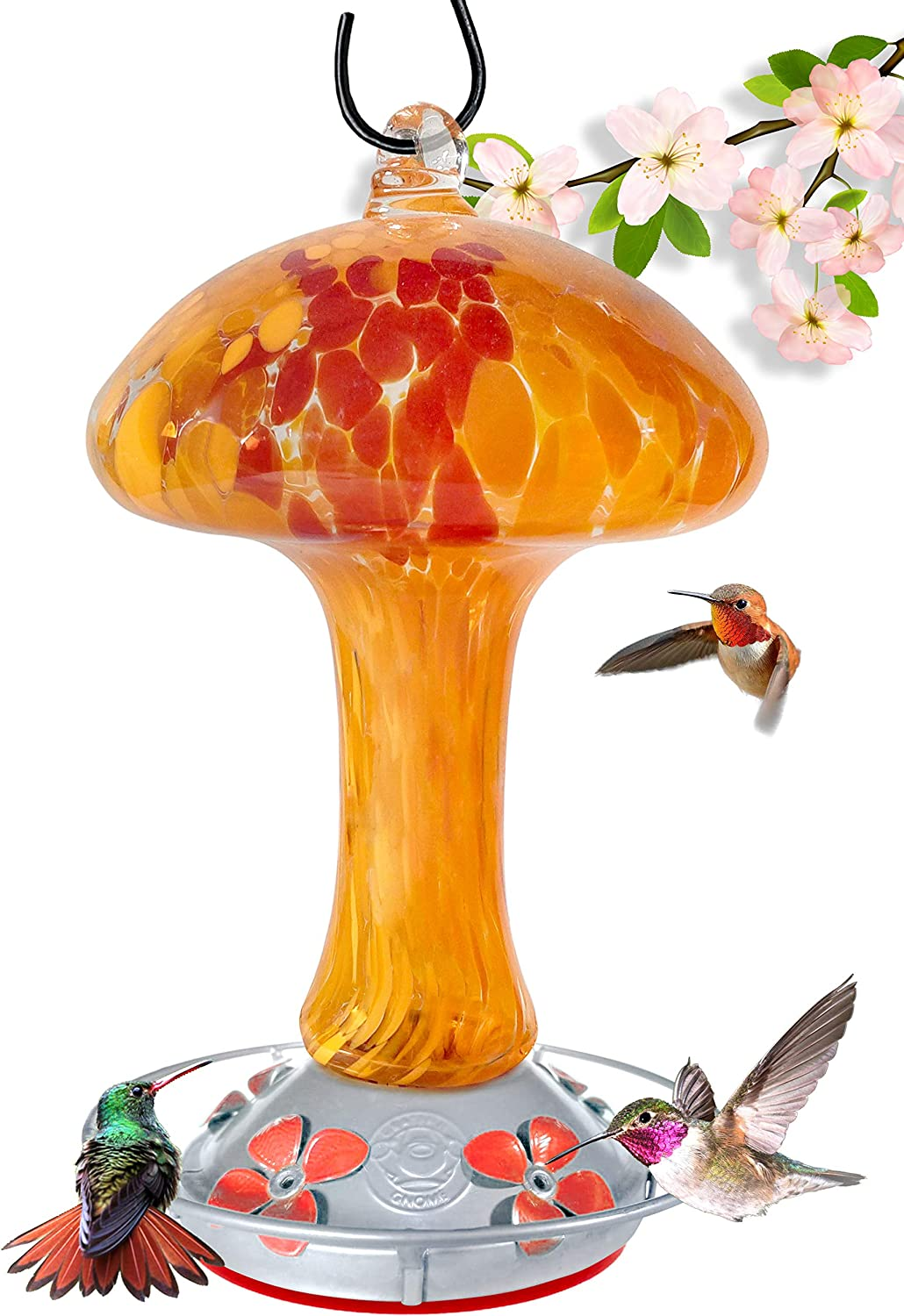 Grateful Gnome - Hummingbird Sale SALE% OFF Feeder Glass Red Blown and Ranking TOP4 Hand