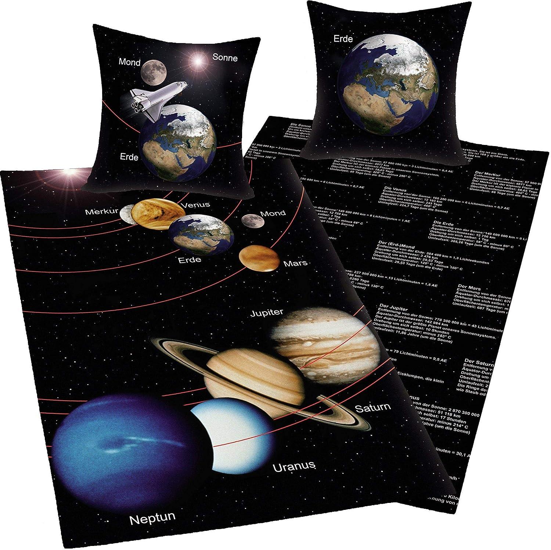 Bavaria Home Style Collection - Weltraum Wende- Bettwäsche Sonne Sonne Sonne Mond Erde Jupiter - Mehrfarbig braun schwarz ca 140 x 200 + 70 x 90 cm für Österreich  B07K6QMWKX a999e3