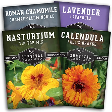 Survival Garden Seeds Edible Flowers Collection Seed Vault - Lavender, Roman Chamomile, Nasturtium, Calendula - Non-GMO Heirloom Survival Garden Seeds for Planting and Growing