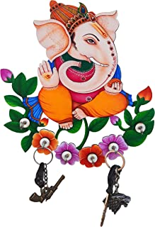 SHIVA ARTS Wooden Multicolour Handpainted UV Printed Floral Design Six Hook Stylish Key Holder for Home /Office /Living Ro...