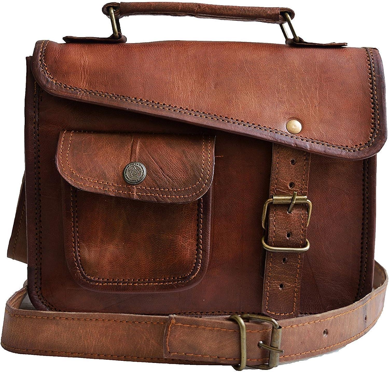 Genuine Leather 11 inch Messenger bag Satchel Shoulder Bag Ipad Bag tablet Bag Gift for Men women