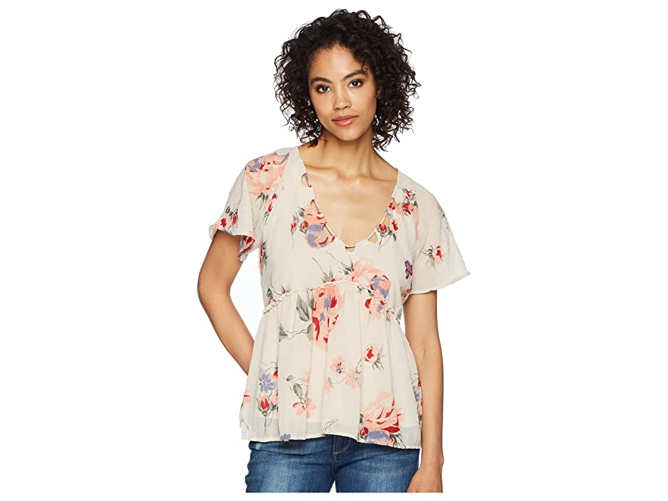 Lucky Brand Floral Flutter Top (Pink Multi) Women's Short Sleeve Pullover