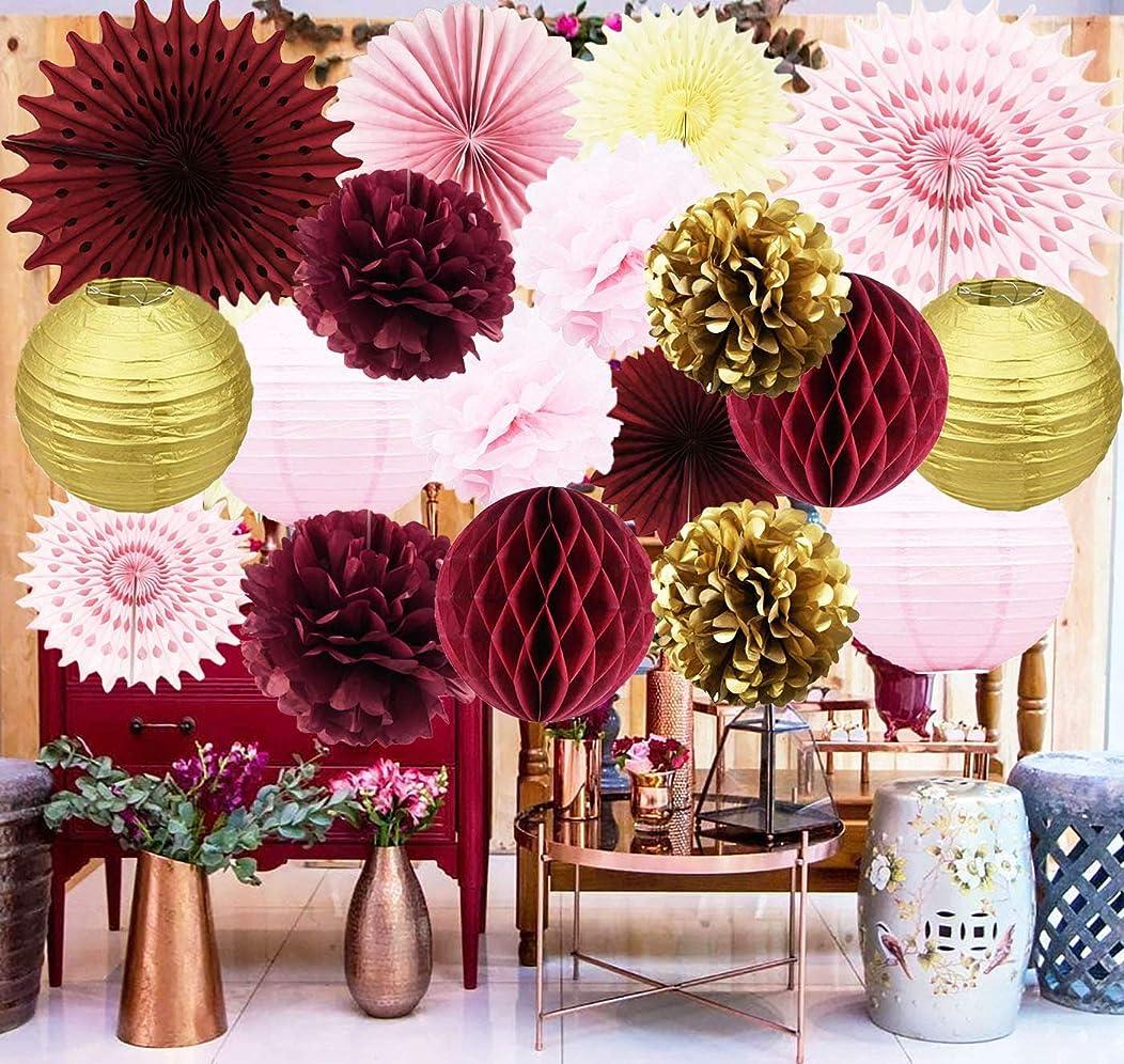Maroon Bridal Shower Decorations Burgundy Pink Gold Birthday Party Decorations/Burgundy Wedding Decor Tissue Pom Pom/Tissue Paper Fan/Honeycom Balls Lanterns Burgundy Baby Shower Decorations