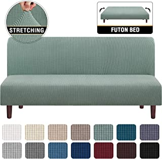 Stretch Armless Futon Cover Futon Slipcover Full Queen Size Futon Couch Cover Futon Sofa Cover Futon Bed Cover Furniture Protector with Elastic Bottom, Checked Pattern Jacquard (Futon, Sage)