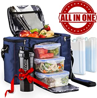 Meal Prep Lunch Bag / Box For Men, Women + 3 Large Food Containers (45 Oz.) + 2 Big Reusable Ice Packs + Shoulder Strap + Shaker With Storage. Insulated Lunchbox Cooler Tote. Adult Portion Control Set