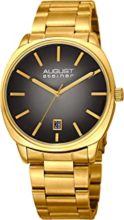 August Steiner Men's Quartz Watch with Stainless-Steel Strap, Gold, 22 (Model: AS8237YGB