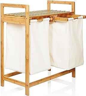 Lumaland Panier de Rangement à Linge en Bambou avec 2 Poches Blancs Amovibles Corbeille Organiser ca. 73 x 64 x 33 cm