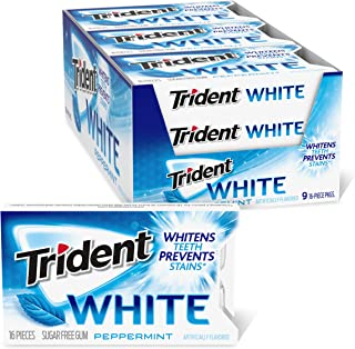 Trident Sugar SugarFree Gum Peppermint، 16 Count، Pack 9
