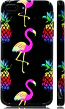 GoldSwift Cute Cartoon Flexible Soft Rubber Gel Case for iPhone 8 Plus, iPhone 7 Plus, iPhone 6S Plus and iPhone 6 Plus (Bright Flamingos and Pineapples)