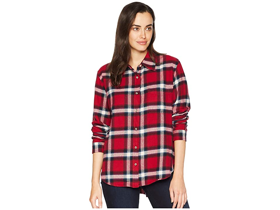 Wrangler Long Sleeve Plaid Flannel Shirt (Rio Red) Women