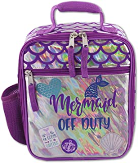 Mermaid Scales Girl's Soft Insulated School Lunch Box (One Size, Purple/Silver)