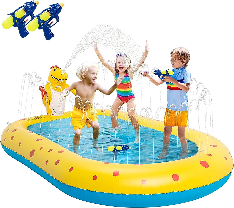 Splash Pad, Piscina Hinchable con Rociadores, Almohadilla de Agua con Salpicaduras, Aspersor, Tapete de Aprendizaje para niños de 3 a 12 Años, Juguetes Acuáticos para Jardín Playa (2 Pistolas de Agua)