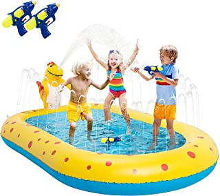 Splash Pad, Sprinkler Pool, Splash Play Mat for Kids Toddlers Toy & Baby Pool, Inflatable Pool Outdoor Water Play Sprinkler, Swimming Paddling Pool Water Toy for Summer Outside Garden Beach