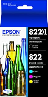 Epson DURABrite Ultra T822 High Capacity Black and Standard Capacity Color Combo Cartridge Ink (T822XL-BCS)