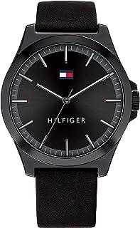 Tommy Hilfiger Men'S Black Dial Black Leather Watch - 1791715
