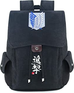 حقيبة ظهر روفاتايد أنيمي قماش للرجال كلية مدرسة حقيبة الرباط رفرف حزمة الظهر المطبوعة Daypack, , Attackontitan - Black -...