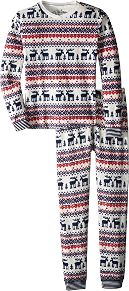Moose Fair Isle Thermal Two-Piece Jammies Set (Toddler/Little Kids/Big Kids)