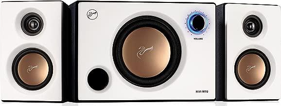 Swans Speakers - M10 - Powered 2.1 Computer Speakers - Surround Sound - Near-Field Speakers - Bookshelf Speakers - Pearl White
