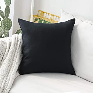 Home Brilliant Winter Decorative Lined Linen Euro Sham Pillow Cover for Couch Bench Patio Floor, 24x24(60x60cm), Black