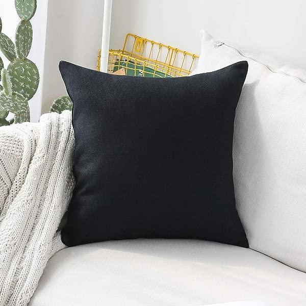 家用炫彩亚麻大抱枕欧式假靠垫套用于长凳 26X26 英寸 66厘米黑色