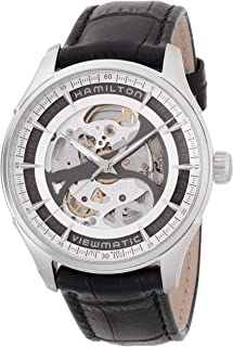 Jazzmaster Viewmatic Automatic Skeleton Dial Black Leather Mens Watch H42555751