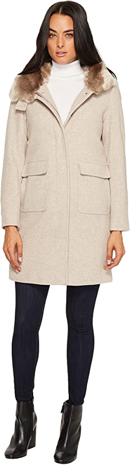 LAUREN Ralph Lauren - Faux Fur Lined Wool w/ Hood and Patch Pocket