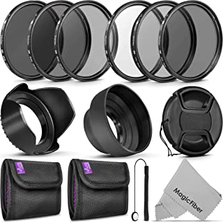 58MM Altura Photo UV CPL ND4 Filter Kit, ND Filter Set, Collapsible Rubber Lens Hood, Tulip Lens Hood Bundle for Lenses with a 58mm Filter Size