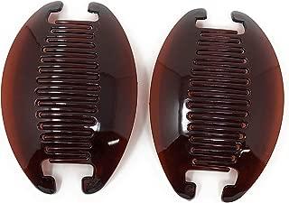 2 set Interlocking Banana Combs Hair Clip French Side Comb Holder (Dark Brown).