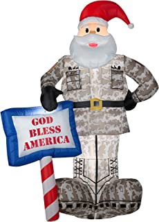 Gemmy Airblown Inflatables 89127X Military Santa With God Bless America Sign