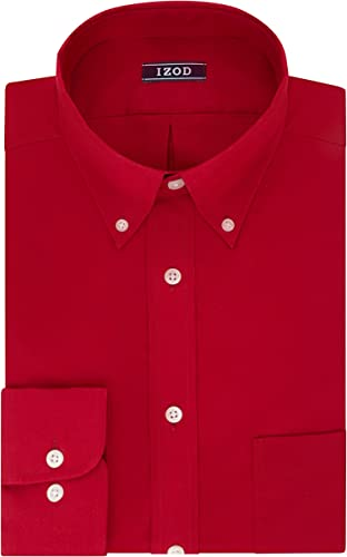 IZOD Hommes's Regular Fit Stretch Solid Buttondown Collar Robe Shirt, Crimson, 15 -15.5  Neck 34 -35  Sleeve