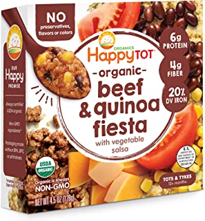 Happy Tot Organic Beef & Quinoa Fiesta With Vegetable Salsa Meal Bowl, 4.5 Ounce, Pack of 8
