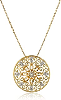 18k Yellow Gold Plated Sterling Silver Gemstone and Diamond Accent Filigree Mandala Pendant Necklace, 18""