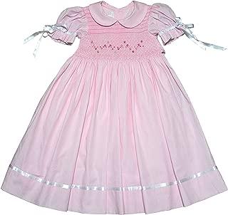 Flower Girls Pink Heirloom Easter Dress Hand Smocked Satin Ribbons