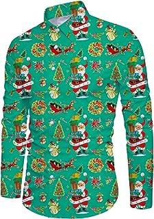 Alistyle Men's Christmas Santa Claus Shirt Party Casual Tropical Hawaiian Button Down Dress Shirt