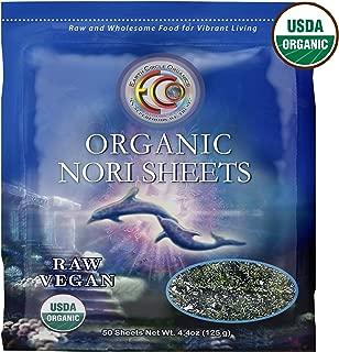 "Earth Circle Organics | Raw Certified Organic Nori Seaweed | Grade ""A"" Rating | Unheated & Not Roasted | Vegan | Paleo & Keto Friendly | Premium Quality Nori 50 Sheets"