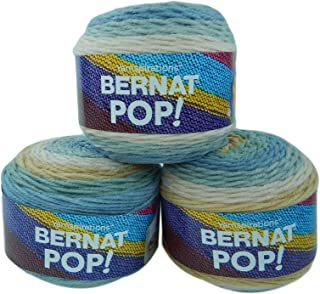 Bernat Pop Worsted Weight Self-Striping 3-Pack Acrylic Yarn 5 Ounces 280 Yards (Foggy Notion)