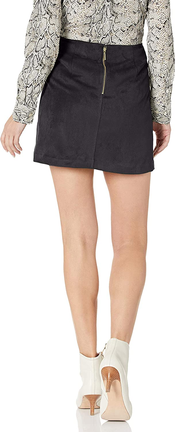 kensie Womens Stretch Suede Skirt with Lace Up Side