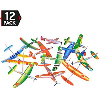 Big Mo's Toys 12 Pack 8 Inch Glider Planes - Birthday Party Favor Plane, Great Prize, Handout Glider, Flying Models, One Dozen